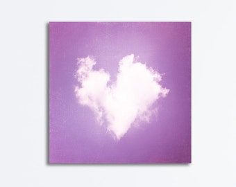 "Purple Nursery Canvas - heart cloud lavender print white love violet gallery wrap baby girls room wall decor large art photo, ""All My Love"""
