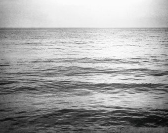 "Black and White Ocean Photography - sea water seascape print dark gray grey photo wall art modern, 8x12, 24x36 Photograph, ""I Go to the Sea"""
