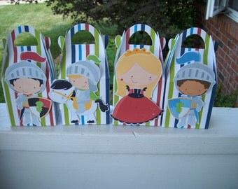 Brave Knights and a Lady in Red Favor Boxes Set of 12 with Free Shipping