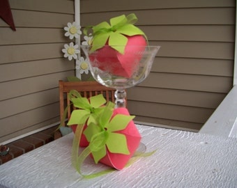 12 Strawberry Favor Boxes