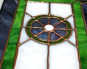 Stained Glass Panel in Purple and Green
