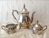 Vintage Raimond Silver Tea Set - Silver Teapot, Creamer and Sugar - Vintage Serving - Home Decor - Cottage
