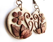 Hidden Nature S20, autumn earrings in light gold and copper, a polymer clay creation with leaves, spirals and flower