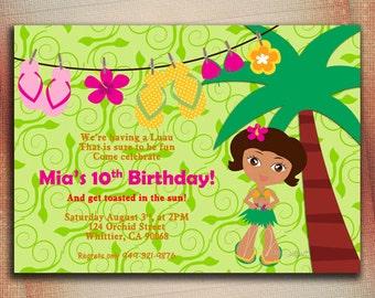 Aloha Luau Birthday Invitation, Luau Birthday Invitation, Aloha Personalized Invite-Digital File You Print