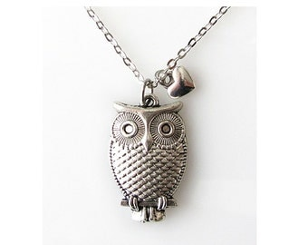 owl necklace, gift for owl lover, love owl jewelry heart, long necklace 24 inch, animal jewelry necklace, owl charm necklace, silver owl