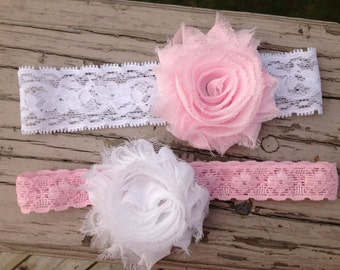 Set of 2 Elastic Lace Headbands with Flower Hair clip