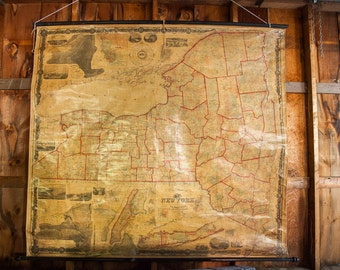 DISCOUNTED Antique 1860 New York Pull Down Map
