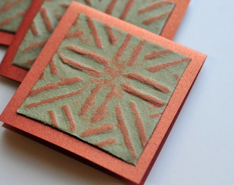 SALE-Copper & Sage Mini Cards, Set of 4, Blank Cards, Enclosure Cards