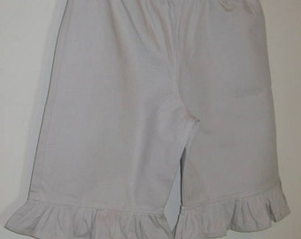 Girls Khaki Ruffle Capri Pants School Uniform Khaki Ruffled Boutique Style Capri Length Pants