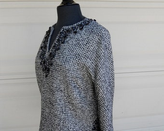 50s 60s Beaded Blouse . Designer Tweed Top by Ilsa Engel Boutiques
