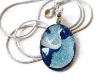 Go Green oval handmade blue marbled paper 1 1/4 inch glass pendant eco friendly necklace
