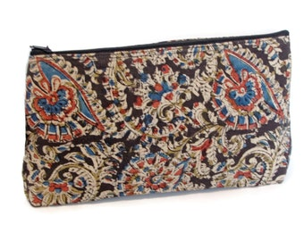 Hand block printed cotton quilted cosmetic pouch small bag case black floral print multi color zipper