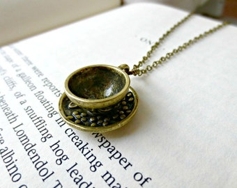 Teacup necklace-Antique bronze teacup necklace- Coffee cup necklace- Alice in Wonderland- Vintage style necklace- Teacup charm
