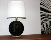 Retro Vintage 1960s  Mid Century Modern Black Lacquer Geometric Table Lamp with Clear Lucite Base
