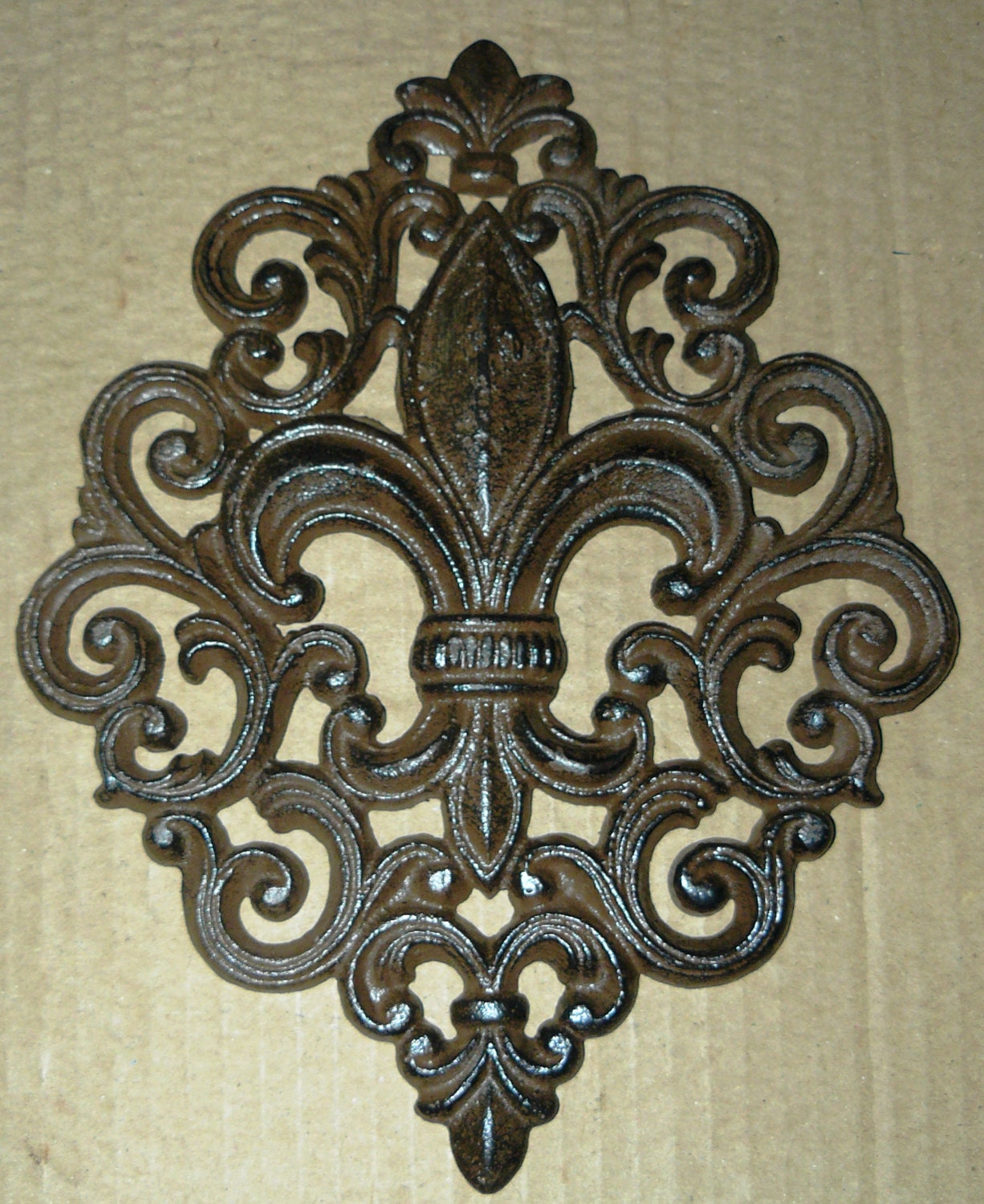 Cast Iron Fleur De Lis Wall Plaque Art Deco French Country