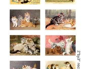 Digital clipart, instant download, Vintage Cat and Kitten Images--litter of kittens, kitties--Digital Collage Sheet (8.5 by 11 inches)   690
