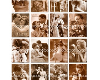 Digital Clipart, instant download, Vintage Images, Vintage Lovers, Couples, sepia photograph--Digital Collage Sheet (8.5 by 11 inches)   616
