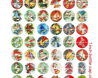 Digital Clipart, instant download, Vintage Christmas Bells bottle cap 1 inch circles holly--Digital Collage Sheet (8.5 by 11 inches) 1423