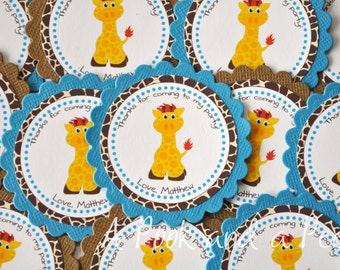 Boy Giraffe Personalized Favor Tag or Stickers for Birthday Parties and Showers in Blue Brown and Yellow