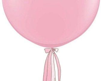 3 Foot Round Designer Balloon in PInk w/Tassel