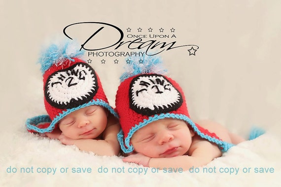 Baby Thing 1 and Thing 2 Hats Photo Props for Twins