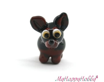 Toy Terrier dog miniature sculpture figurine bead with bone/ fairy moss garden supply kit terrarium accessory glass lampwork tiny animal pet