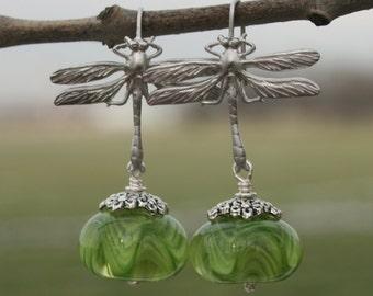 Dragonfly earrings, green , Glass lampwork bead earrings , silver earrings , handmade jewelry , artisan lampwork earrings , beaded earrings