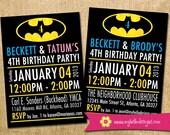 Batman Inspired Birthday Invitation for Twins - custom superhero invite kid child boy girl twins printable DIY birthday party