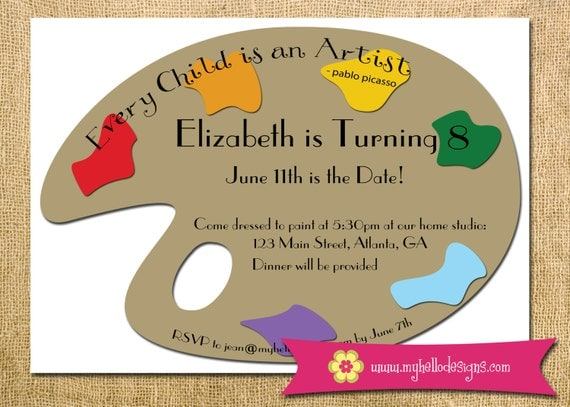 Printable Art Party Invitation - Art Paint Palette Birthday Invite DIY - art paint palette colorful invitation child children