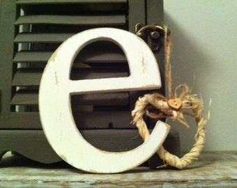 Wooden Wall Letter - Distressed - 'e' - New Times Roman - large lowercase, various colours and finishes