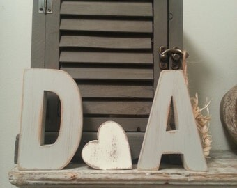 Wooden Wedding Letters and a Love Heart - various finishes - set of 3 - 20cm