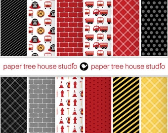 Digital Papers - Fire Station & Junior Fire Fighter Set - Twelve 8.5 x 11 or 12 x 12 inch Print Ready Files - PNG Format - ID1085