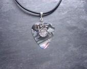 Silver Drum Abalone Guitar Pick Necklace