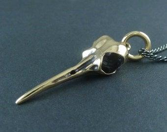 "Hummingbird Skull - Bronze Hummingbird Skull on 24"" Gunmetal Chain"