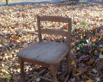 Chair Primitive School Chair Low Back Large Seat Early Century FIND by AntiquesandVaria