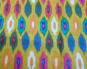 Half Meter  indian  Cotton  fabric in an ikat pattern on lime green