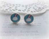 Cloud & Rainbow Glass Stud Earrings