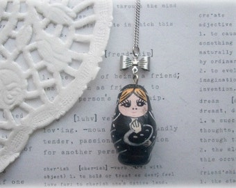 Black Ceramic Babushka Doll Necklaces with Silver Bow