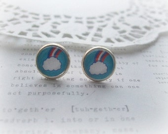 ON SALE  Cloud & Rainbow Glass Stud Earrings