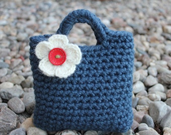 Little Girl Little Purse in denim with ivory flower and button