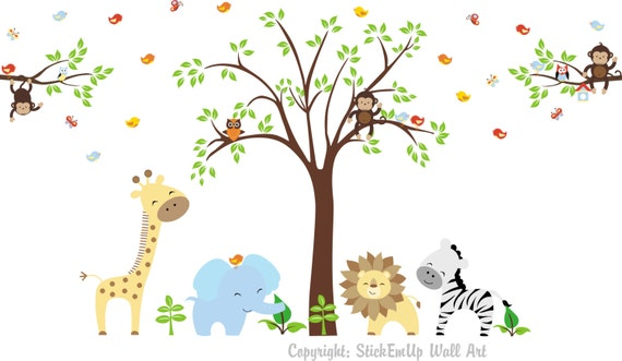 Baby wandtattoo wandtattoo kinderzimmer jungle von stickemupwallart - Jungle wandtattoo ...