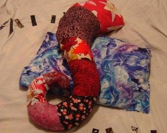 Hot pink tentacle body pillow unfilled zipper case novelty pillow tentacles Patchwork crazy quilt colorful pillow