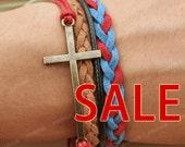 WEEKLY SALE - Cross Bracelet- British style bracelet, gift for her, boyfriend gifts, girlfriend gifts
