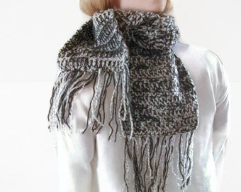 Scarf, Neckwarmer in Pale Grey and Dark Grey. Unisex, Fashion Accessories, Winter Warmers.