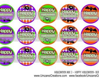 """15 Halloween Mix 3 - Happy Halloween Digital Download for 1"""" Bottle Caps (4x6)"""
