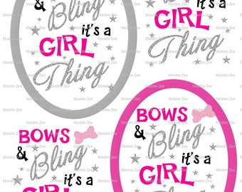 "DIY Printable ""Bows & Bling It's a Girl Thing"" Shrinkable Digital Images (JPEG File)"