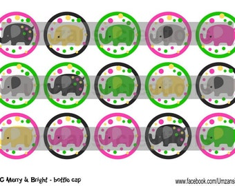 """15 M2MG Merry and Bright Elephants Digital Download for 1"""" Bottle Caps (4x6)"""
