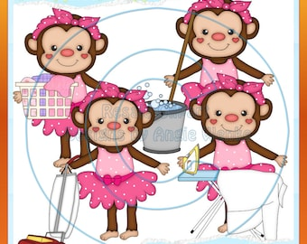 Cleaning Monkeys Pink Clipart (Digital Download)