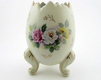 Vintage Footed Egg Vase with Roses Inarco Porcelain