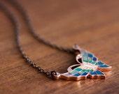 Enamel Butterfly Necklace Blue Green Colorful Necklace Delicate Butterfly Charm Butterfly Jewelry - N286